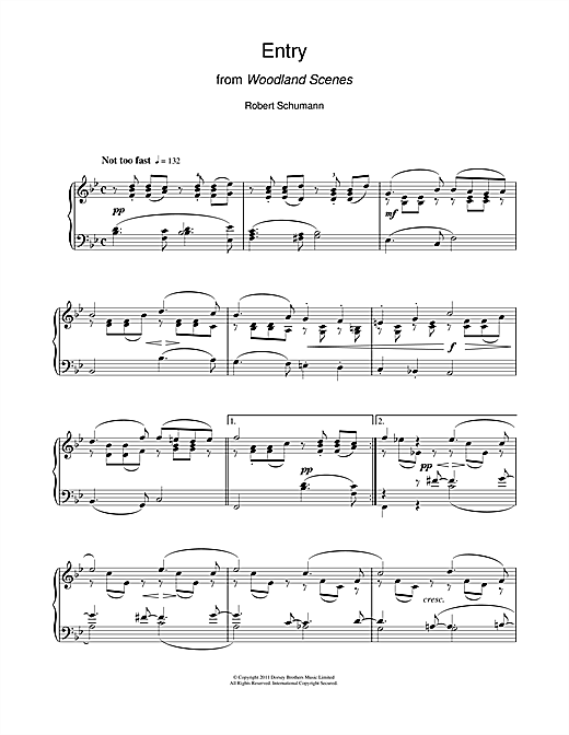 Download Robert Schumann 'Entry From Woodland Scenes' Digital Sheet Music Notes & Chords and start playing in minutes