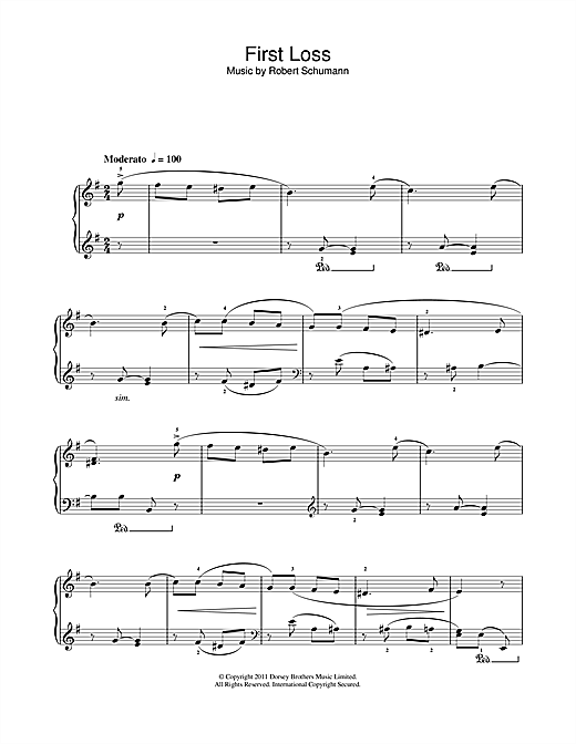 Robert Schumann First Loss sheet music preview music notes and score for Piano Solo including 1 page(s)