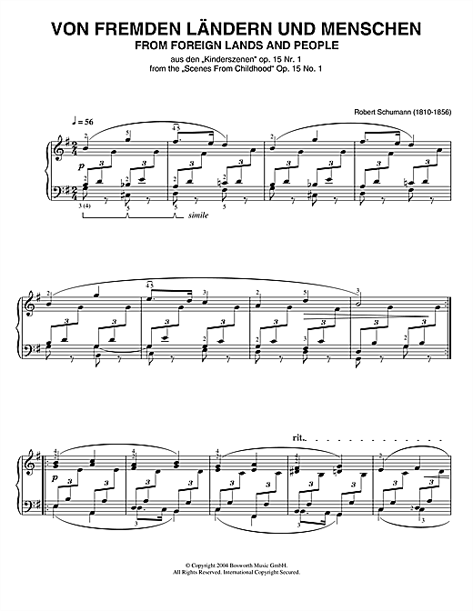 Download Robert Schumann 'From Foreign Lands And People (from Scenes From Childhood)' Digital Sheet Music Notes & Chords and start playing in minutes