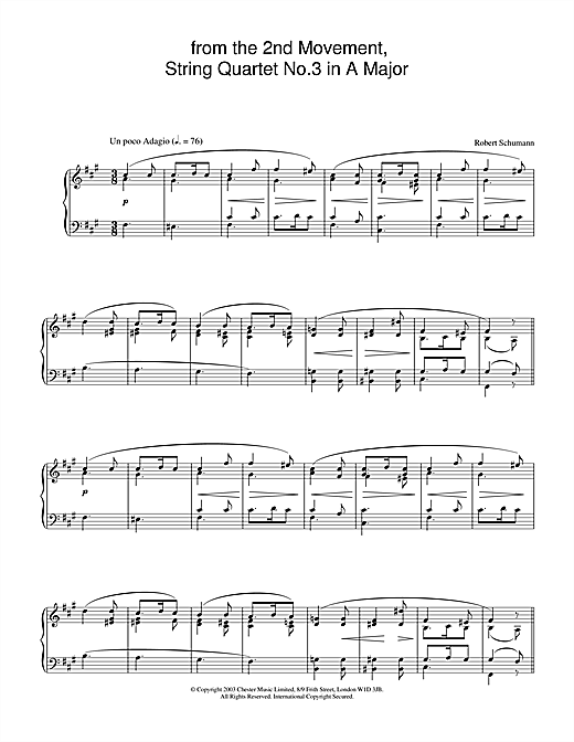Robert Schumann from the 2nd Movement, String Quartet No.3 in A Major sheet music notes and chords