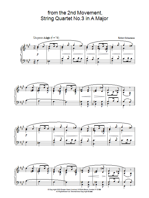 Robert Schumann from the 2nd Movement, String Quartet No.3 in A Major sheet music preview music notes and score for Piano including 3 page(s)