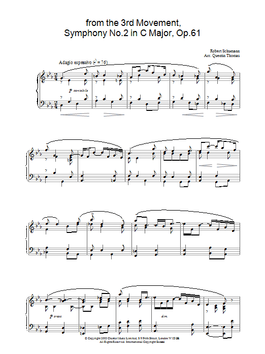 Robert Schumann from the 3rd Movement, Symphony No.2 in C Major, Op.61 sheet music preview music notes and score for Piano including 3 page(s)