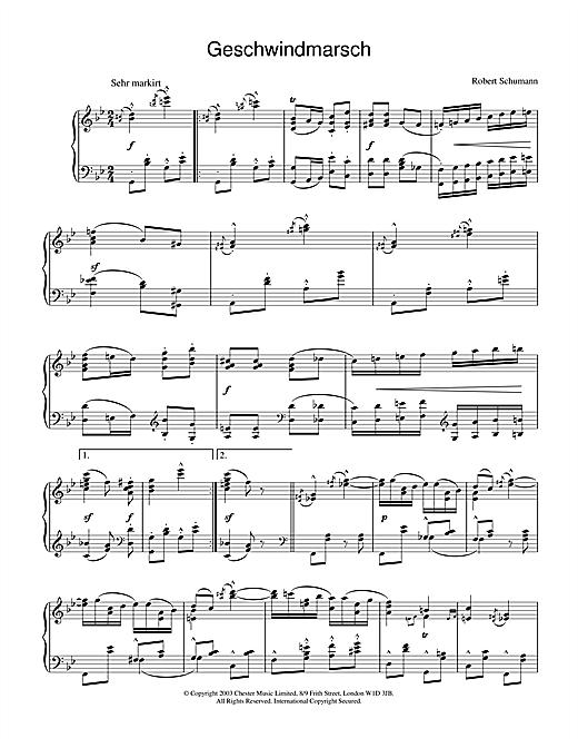 Download Robert Schumann 'Geschwindmarsch' Digital Sheet Music Notes & Chords and start playing in minutes