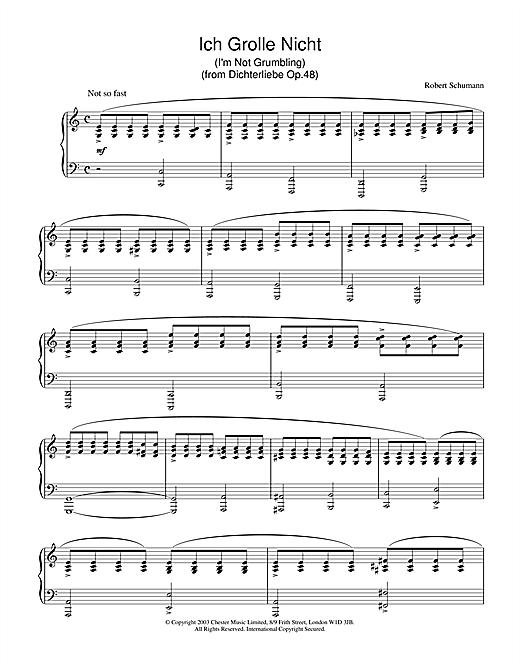 Download Robert Schumann 'Ich Grolle Nicht' Digital Sheet Music Notes & Chords and start playing in minutes
