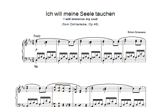 Robert Schumann Ich will meine Seele tauchen sheet music preview music notes and score for Piano including 2 page(s)