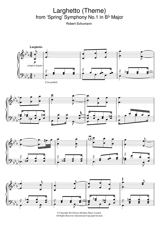 Download Robert Schumann 'Larghetto (Theme) from 'Spring' Symphony No.1 in B Flat Major' Digital Sheet Music Notes & Chords and start playing in minutes