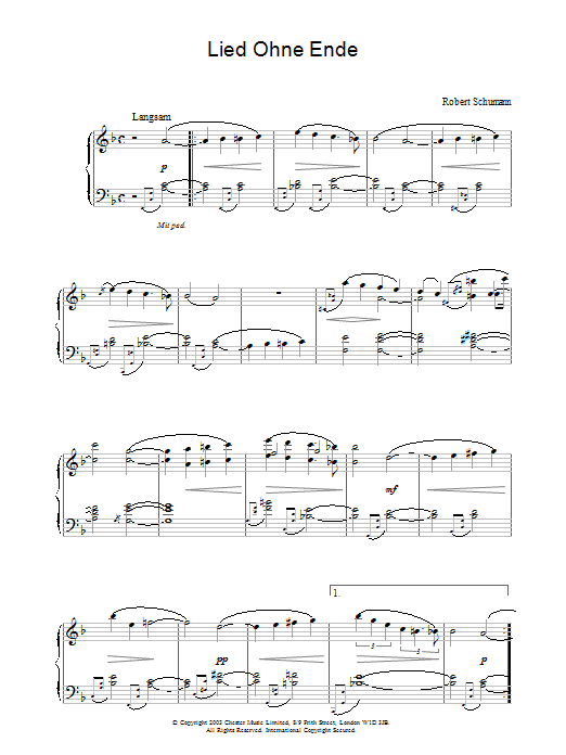 Robert Schumann Lied Ohne Ende sheet music preview music notes and score for Piano including 3 page(s)