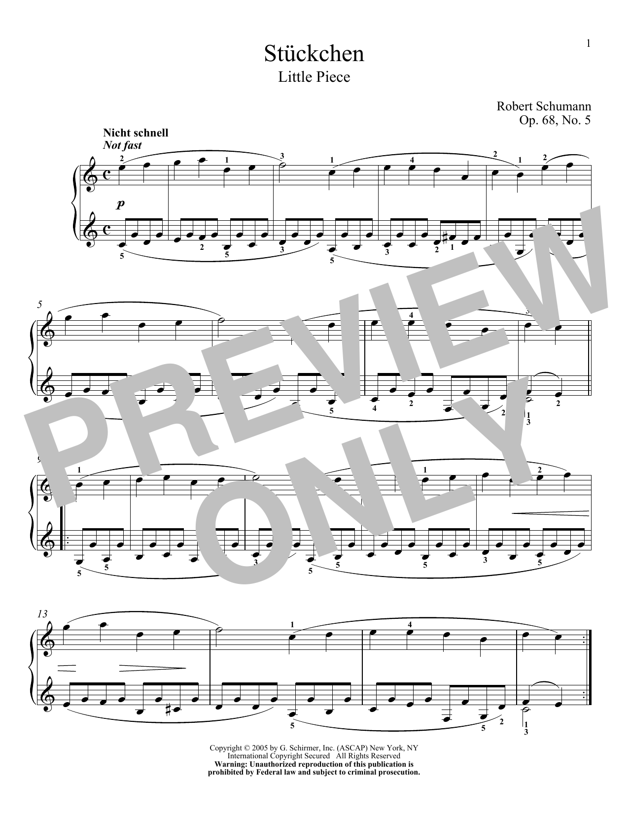 Download Robert Schumann 'Little Piece, Op. 68, No. 5' Digital Sheet Music Notes & Chords and start playing in minutes
