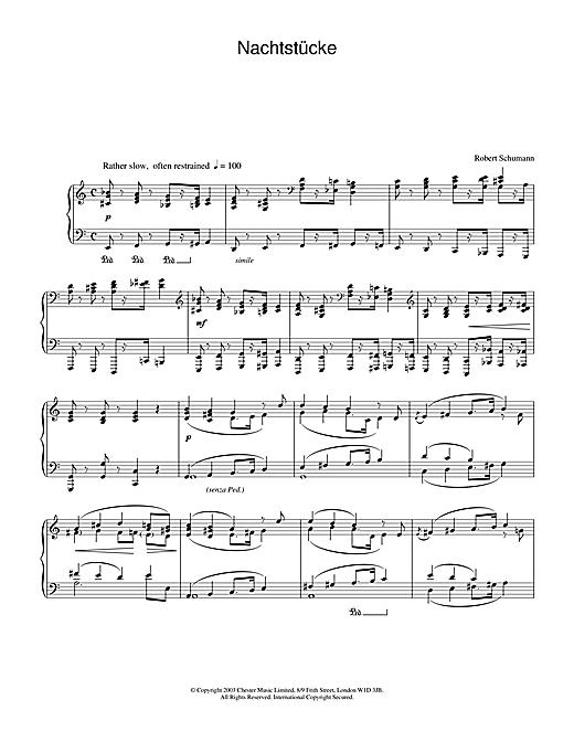Download Robert Schumann 'Nachtstücke' Digital Sheet Music Notes & Chords and start playing in minutes