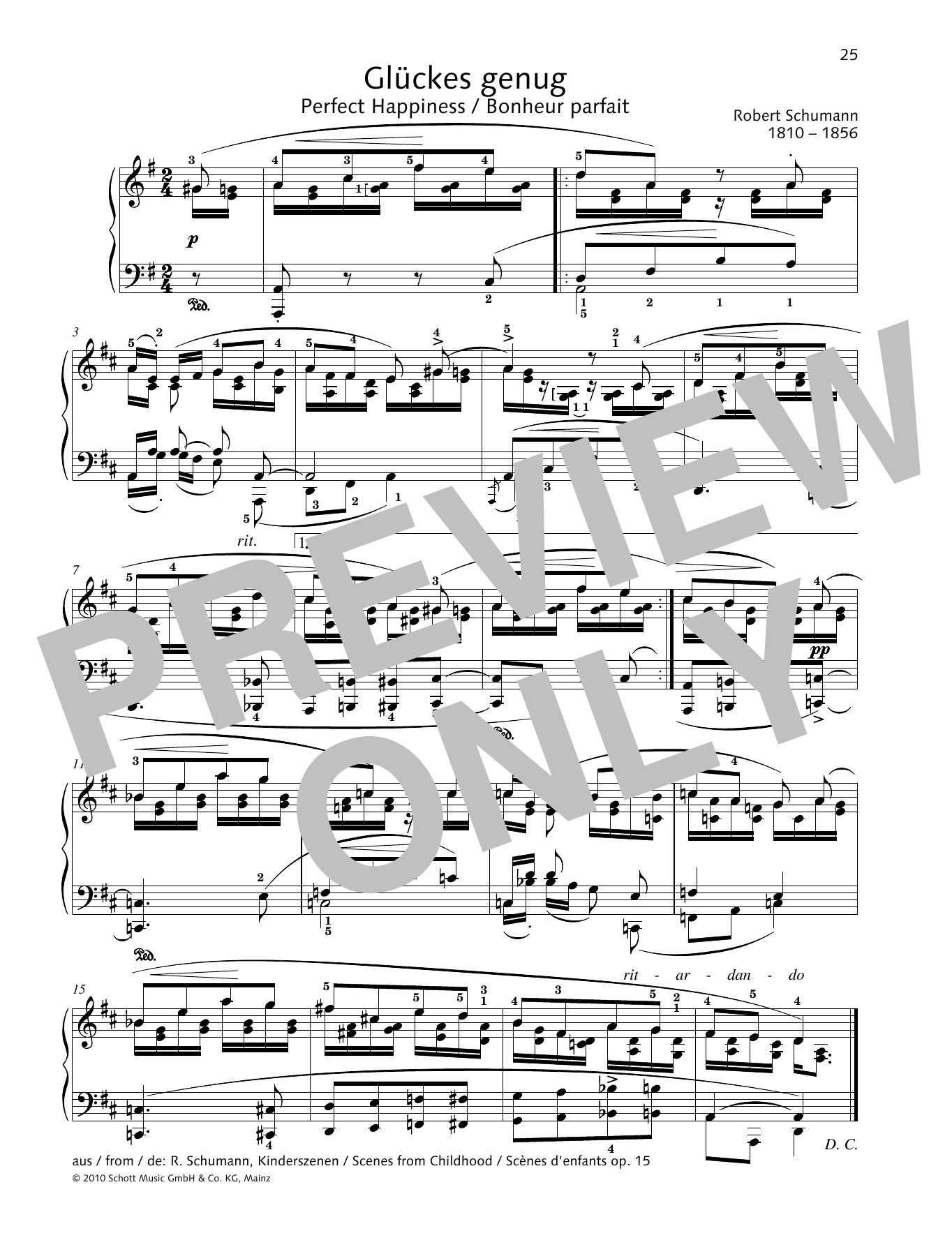 Robert Schumann Perfect Happiness sheet music preview music notes and score for Piano Solo including 1 page(s)