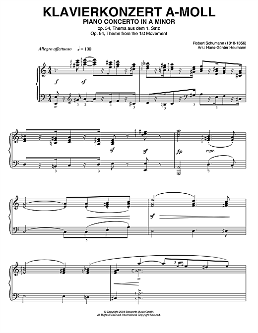 Download Robert Schumann 'Piano Concerto In A Minor, Op.54, theme from the 1st Movement' Digital Sheet Music Notes & Chords and start playing in minutes
