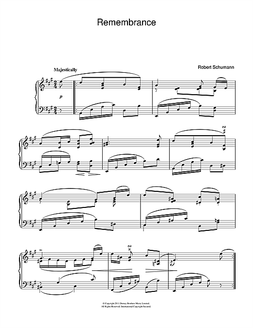 Download Robert Schumann 'Remembrance' Digital Sheet Music Notes & Chords and start playing in minutes