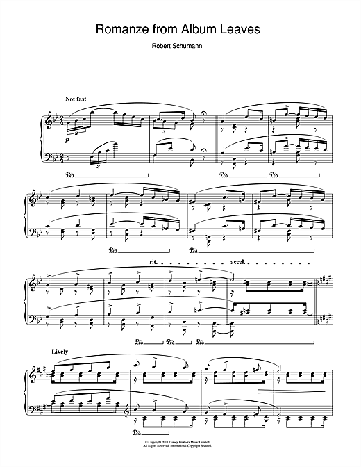 Robert Schumann Romanze from Album Leaves sheet music notes and chords