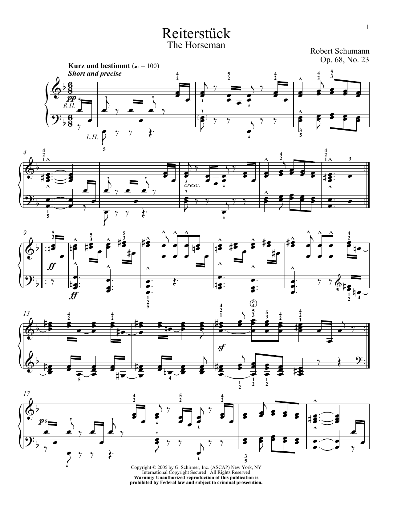 Download Robert Schumann 'The Horseman, Op. 68, No. 23' Digital Sheet Music Notes & Chords and start playing in minutes