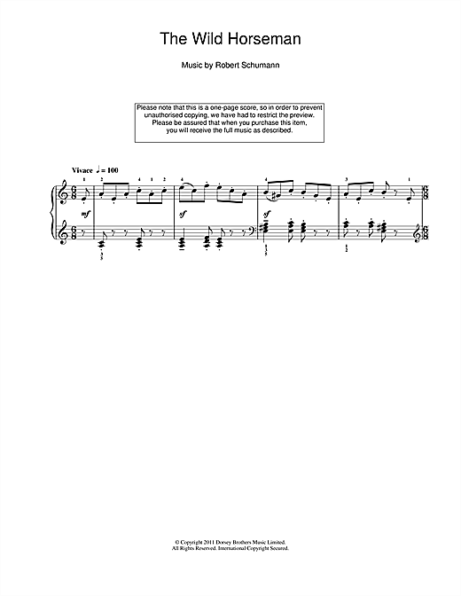 Download Robert Schumann 'The Wild Horseman' Digital Sheet Music Notes & Chords and start playing in minutes