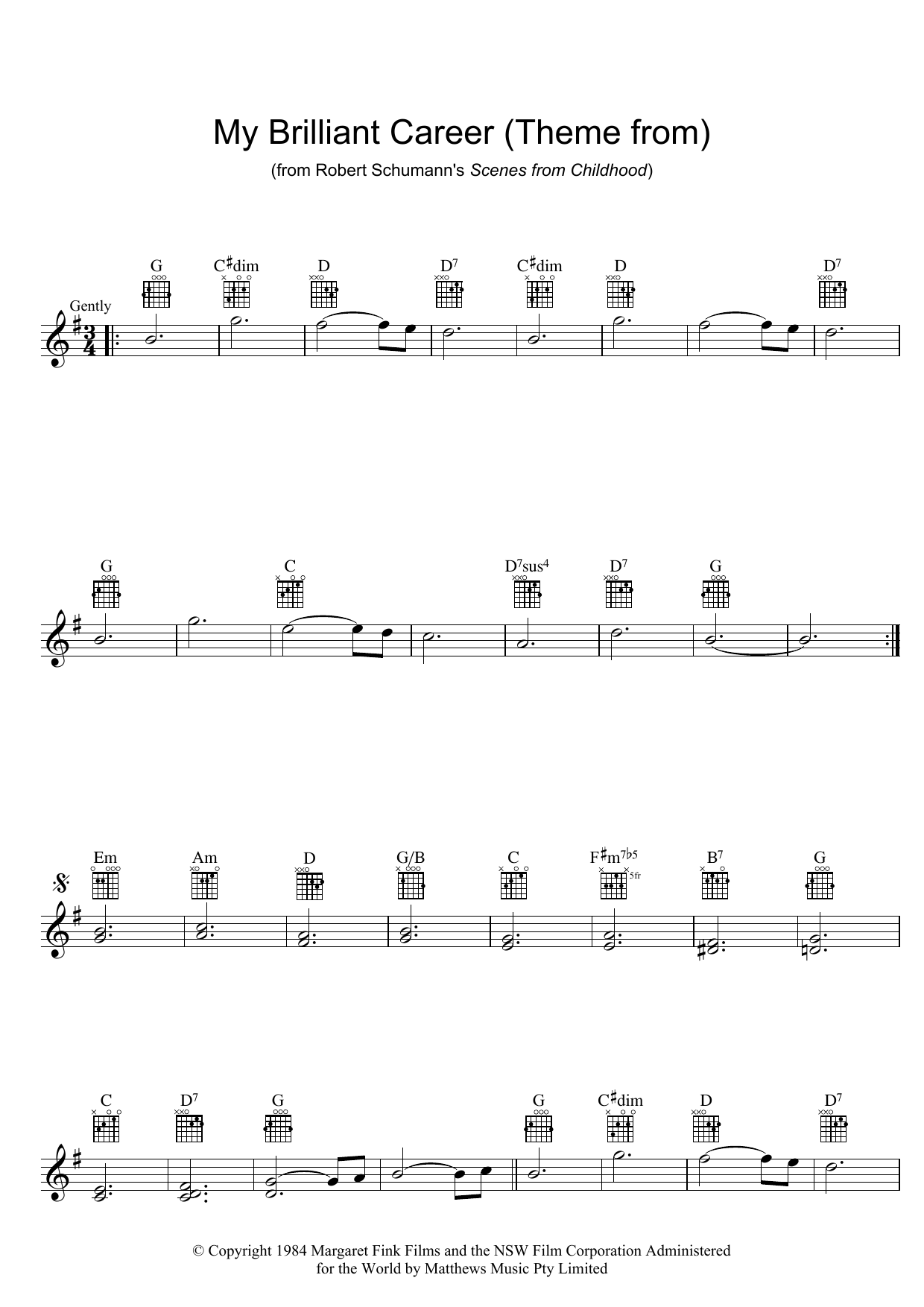 Robert Schumann Theme From My Brilliant Career sheet music preview music notes and score for Melody Line, Lyrics & Chords including 2 page(s)