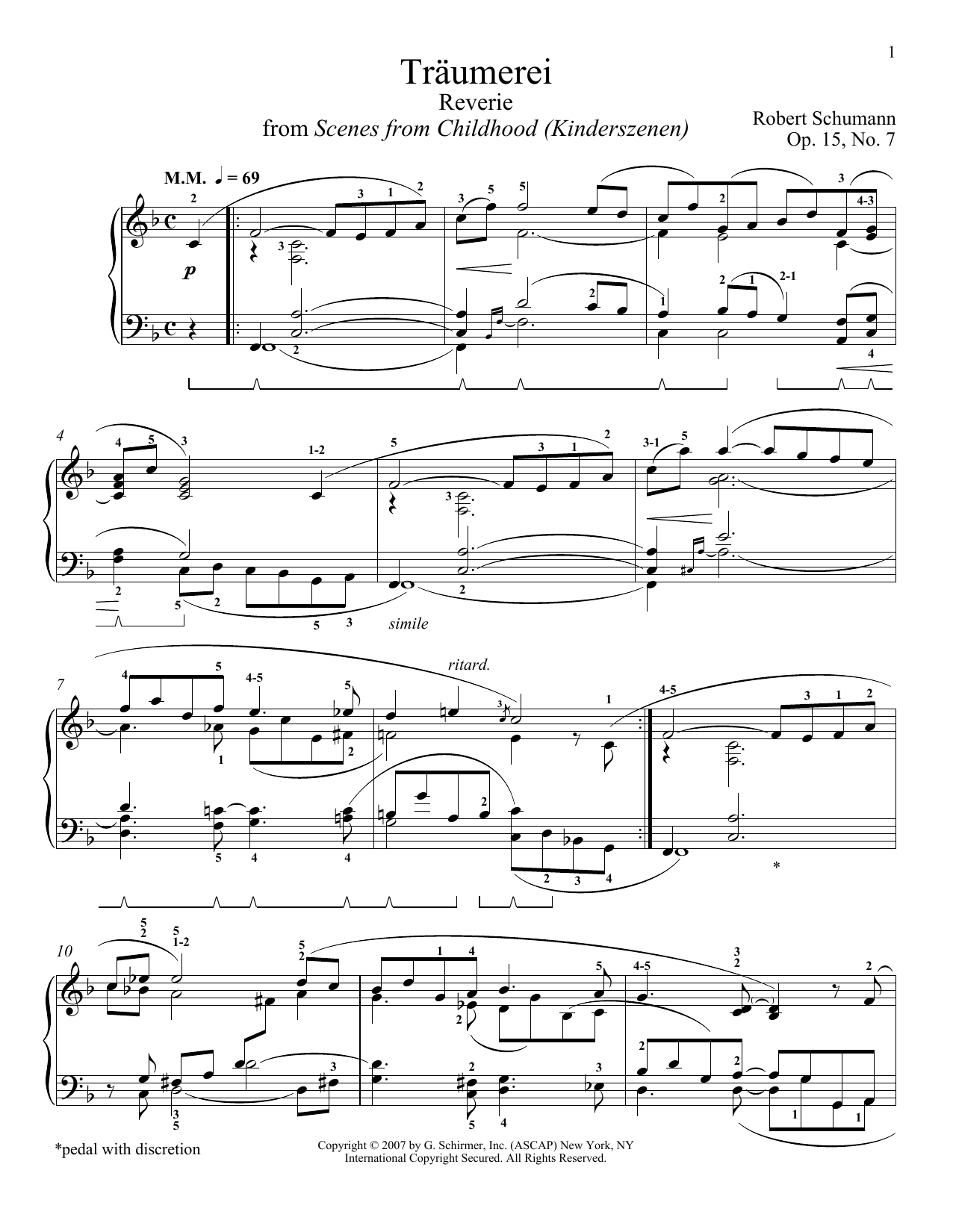 Download Robert Schumann 'Traumerei' Digital Sheet Music Notes & Chords and start playing in minutes