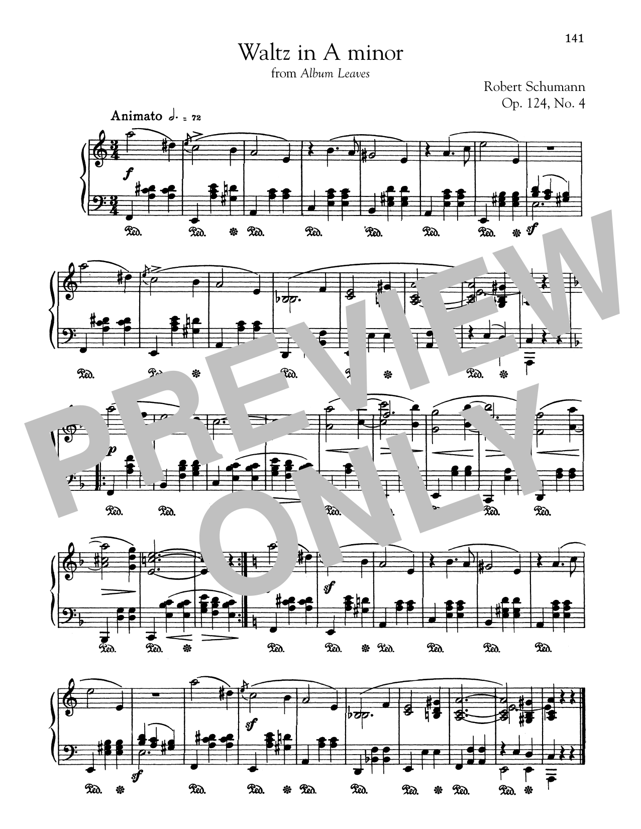 Robert Schumann Waltz In A Minor sheet music preview music notes and score for Piano including 1 page(s)