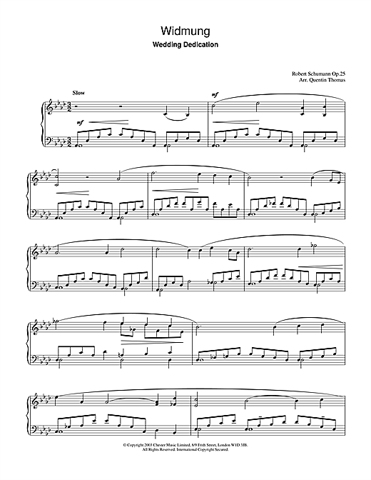 Download Robert Schumann 'Widmung' Digital Sheet Music Notes & Chords and start playing in minutes