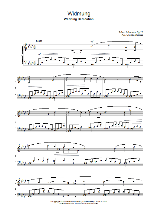 Robert Schumann Widmung sheet music preview music notes and score for Piano including 3 page(s)