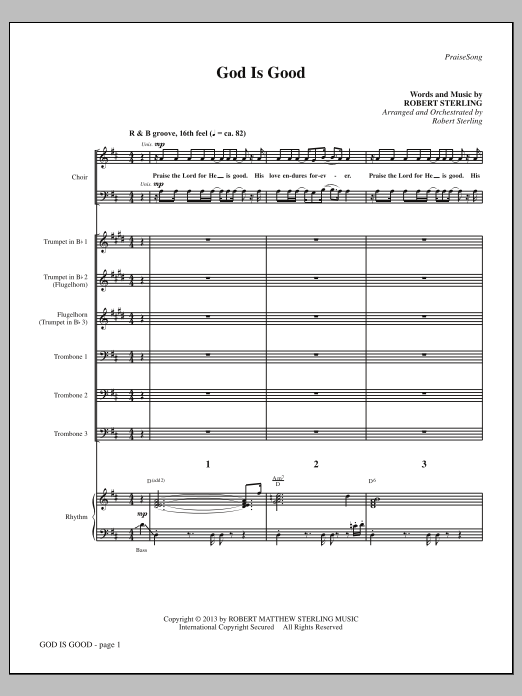 Robert Sterling God Is Good - Full Score sheet music notes and chords