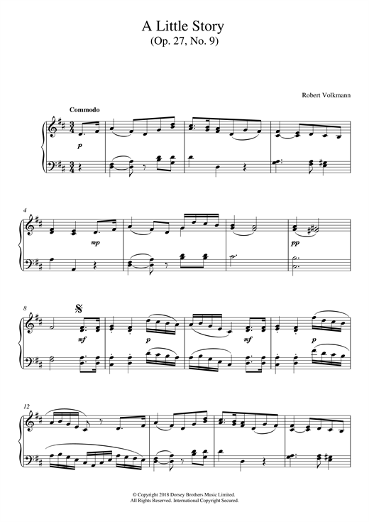 Robert Volkmann A Little Story Op. 27, No. 9 sheet music notes and chords