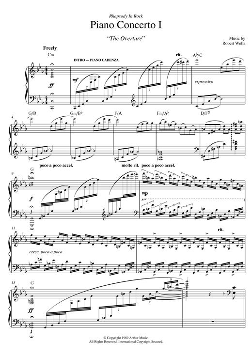 Download Robert Wells 'Piano Concerto: I. The Overture' Digital Sheet Music Notes & Chords and start playing in minutes