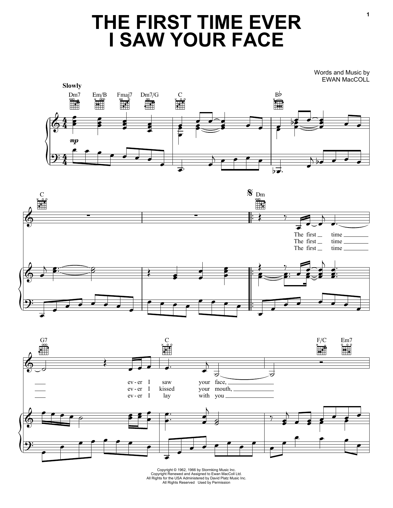 Roberta Flack The First Time Ever I Saw Your Face sheet music preview music notes and score for E-Z Play Today including 3 page(s)