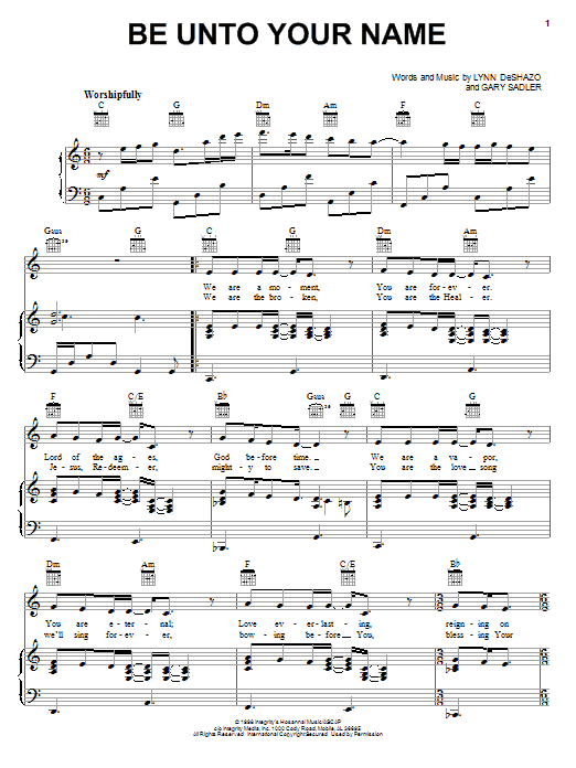Robin Mark Be Unto Your Name sheet music notes and chords