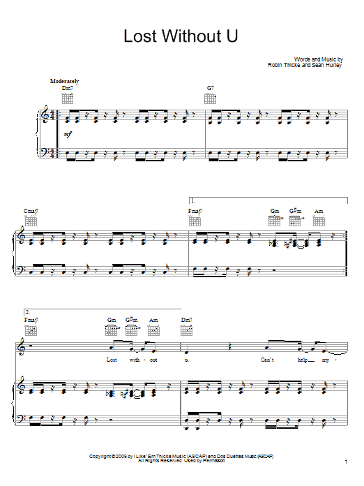 Robin Thicke Lost Without U sheet music preview music notes and score for Piano, Vocal & Guitar (Right-Hand Melody) including 9 page(s)