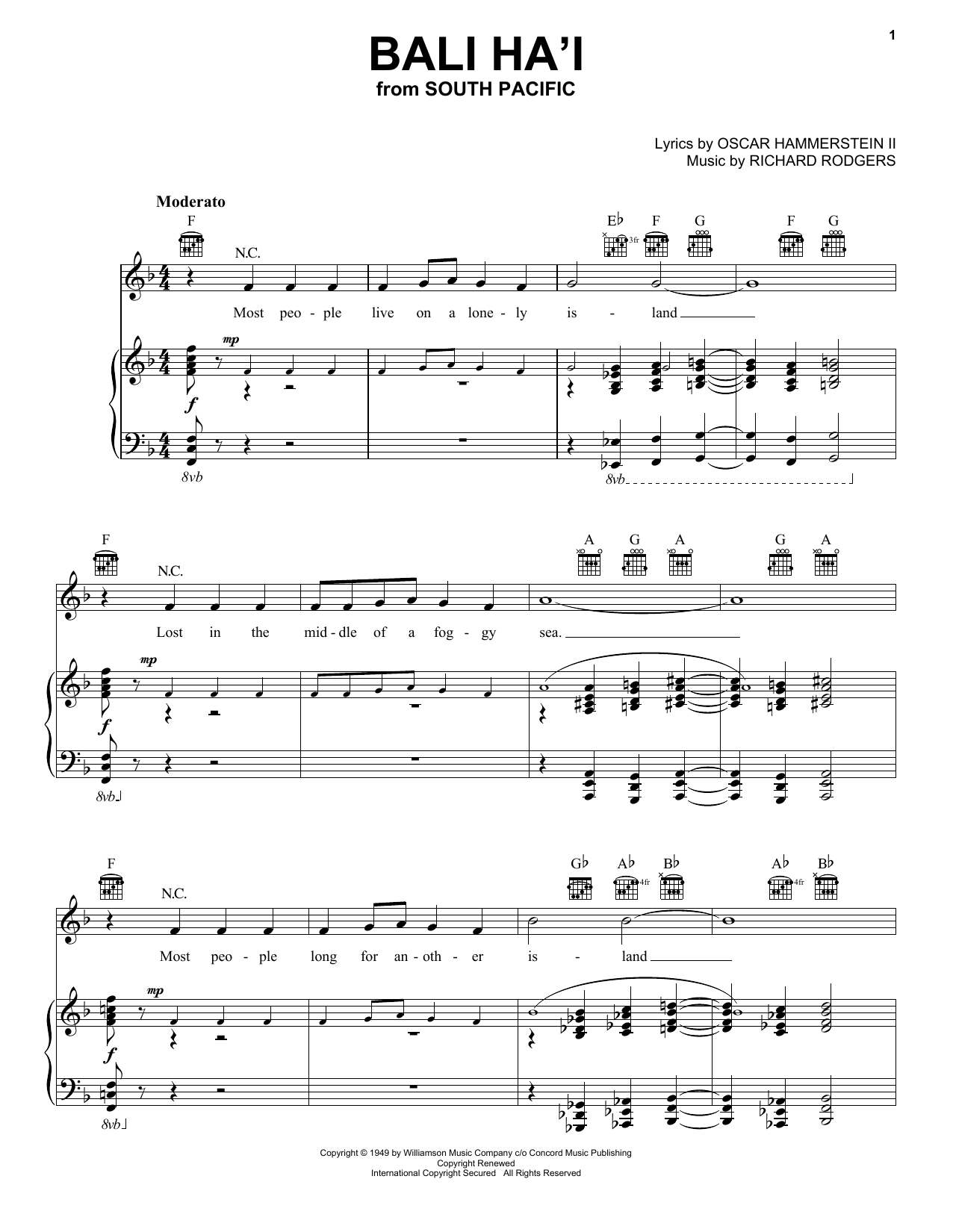 Rodgers & Hammerstein Bali Ha'i sheet music preview music notes and score for Piano, Vocal & Guitar (Right-Hand Melody) including 6 page(s)