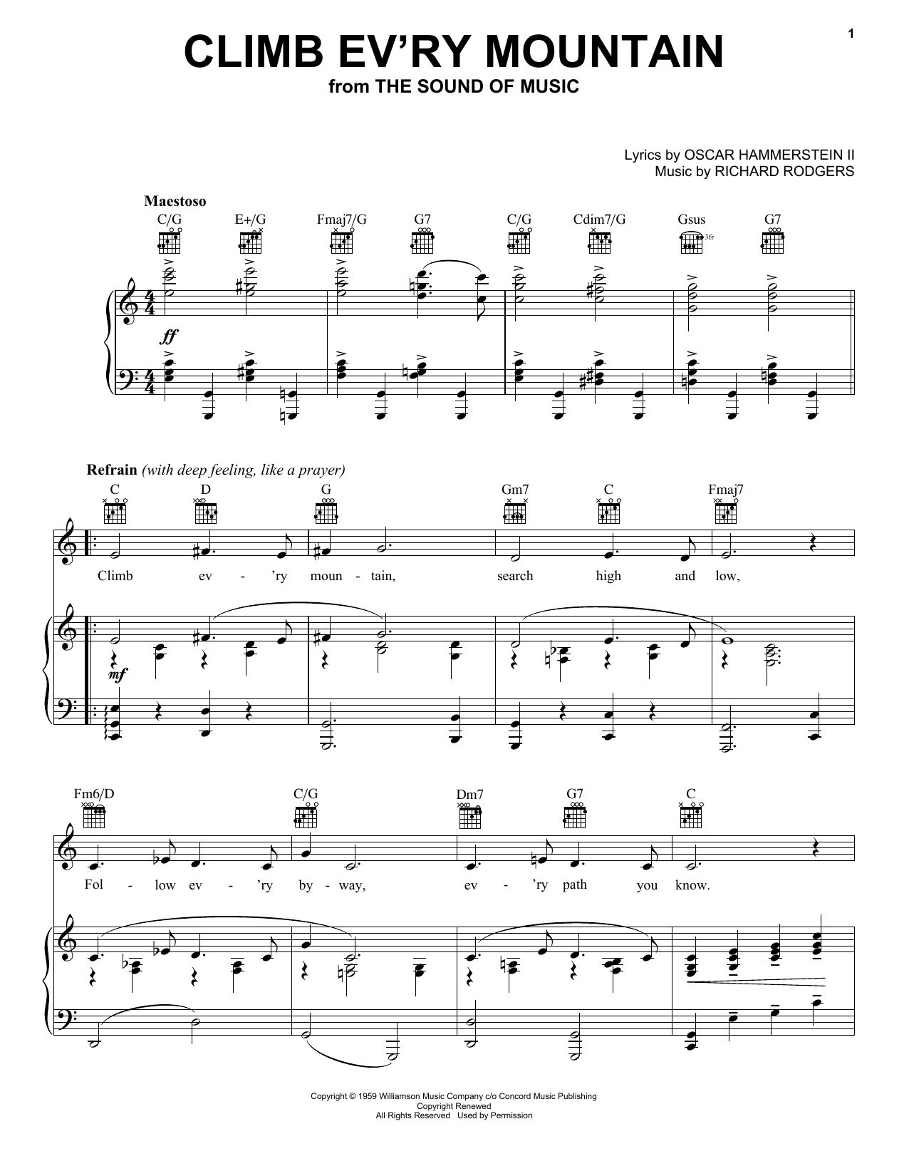 Download Rodgers & Hammerstein 'Climb Ev'ry Mountain' Digital Sheet Music Notes & Chords and start playing in minutes