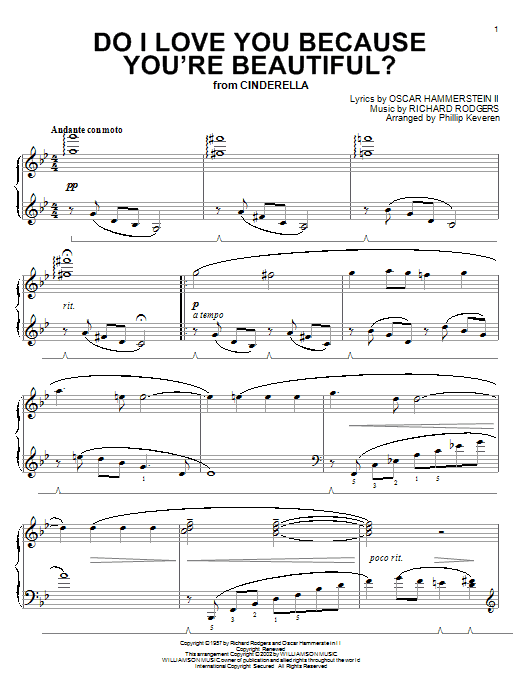 Rodgers & Hammerstein Do I Love You Because You're Beautiful? sheet music notes and chords