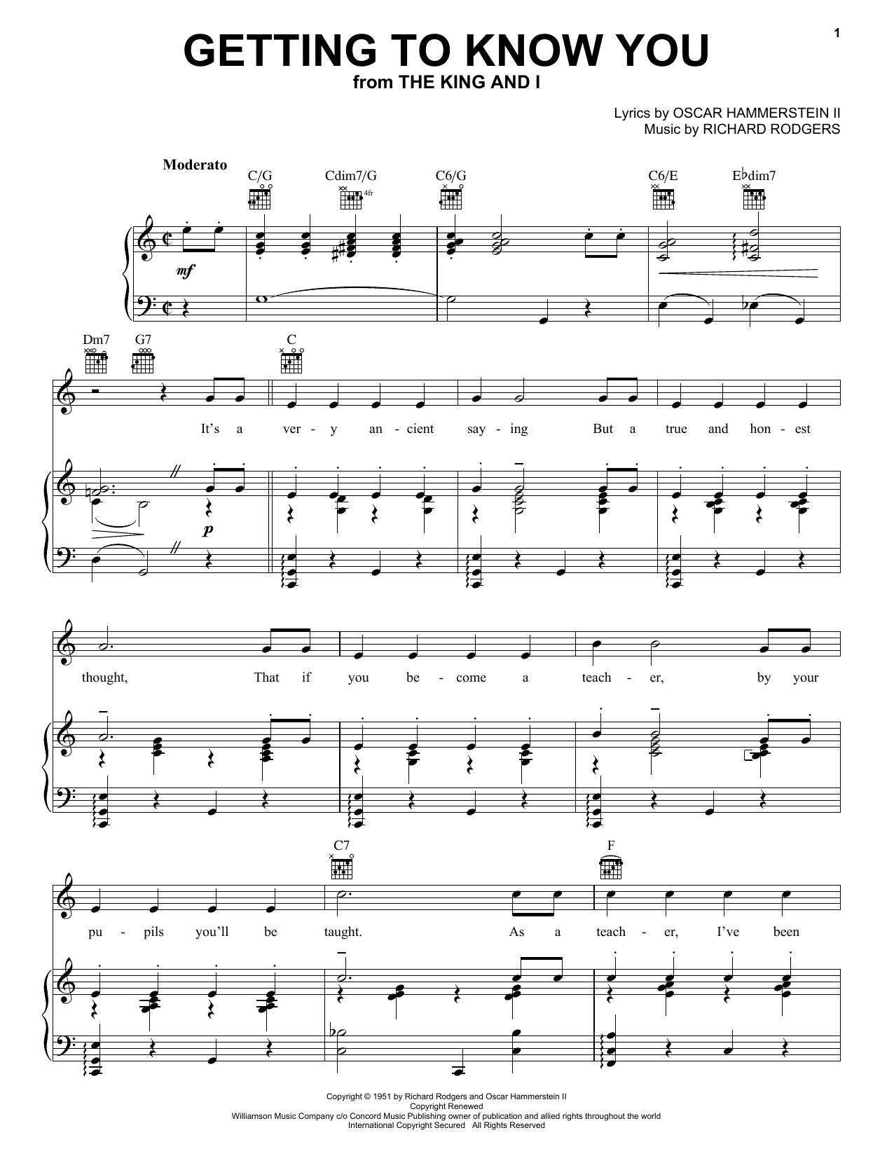 Rodgers & Hammerstein Getting To Know You sheet music preview music notes and score for Piano & Vocal including 5 page(s)