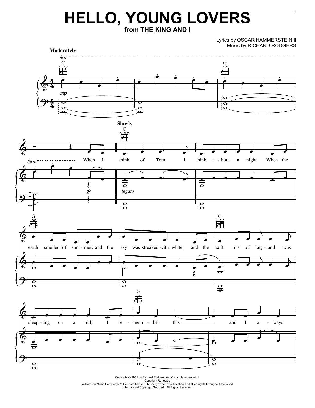 Download Rodgers & Hammerstein 'Hello, Young Lovers' Digital Sheet Music Notes & Chords and start playing in minutes