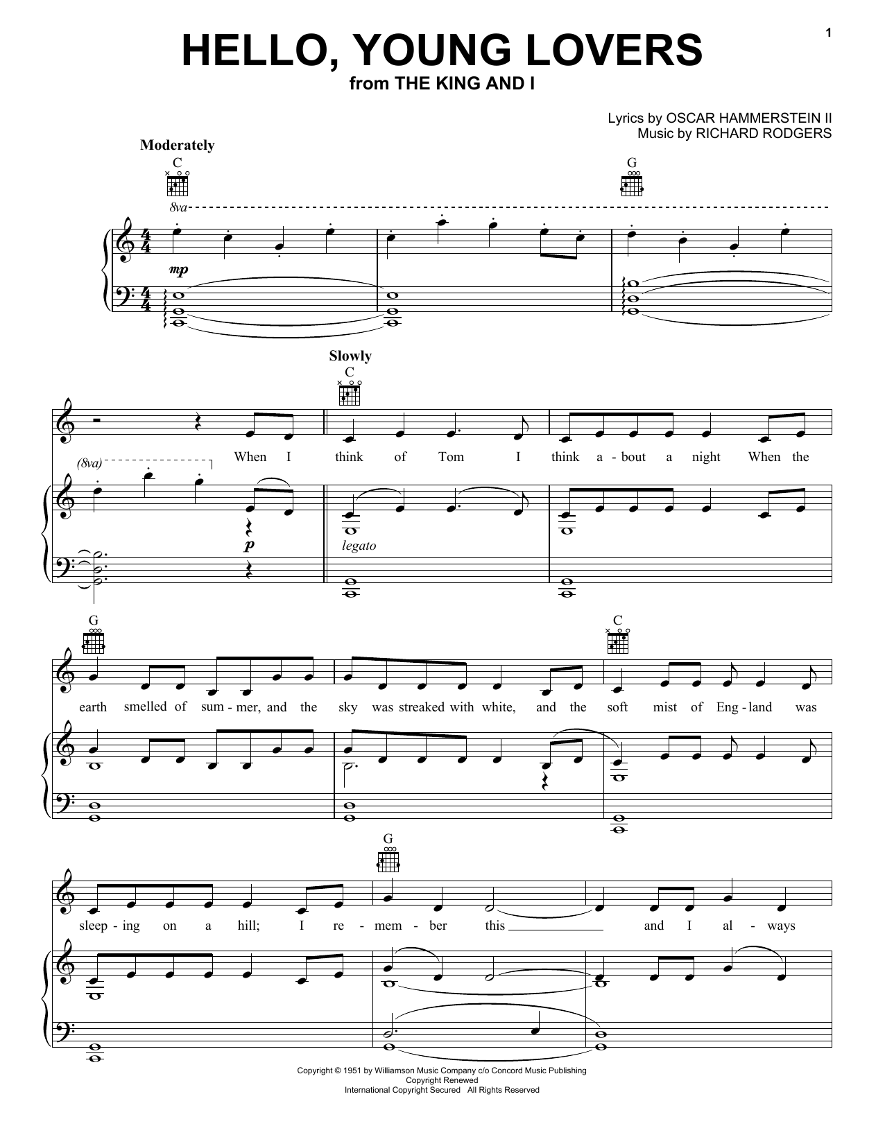 Rodgers & Hammerstein Hello, Young Lovers sheet music preview music notes and score for Piano, Vocal & Guitar (Right-Hand Melody) including 5 page(s)