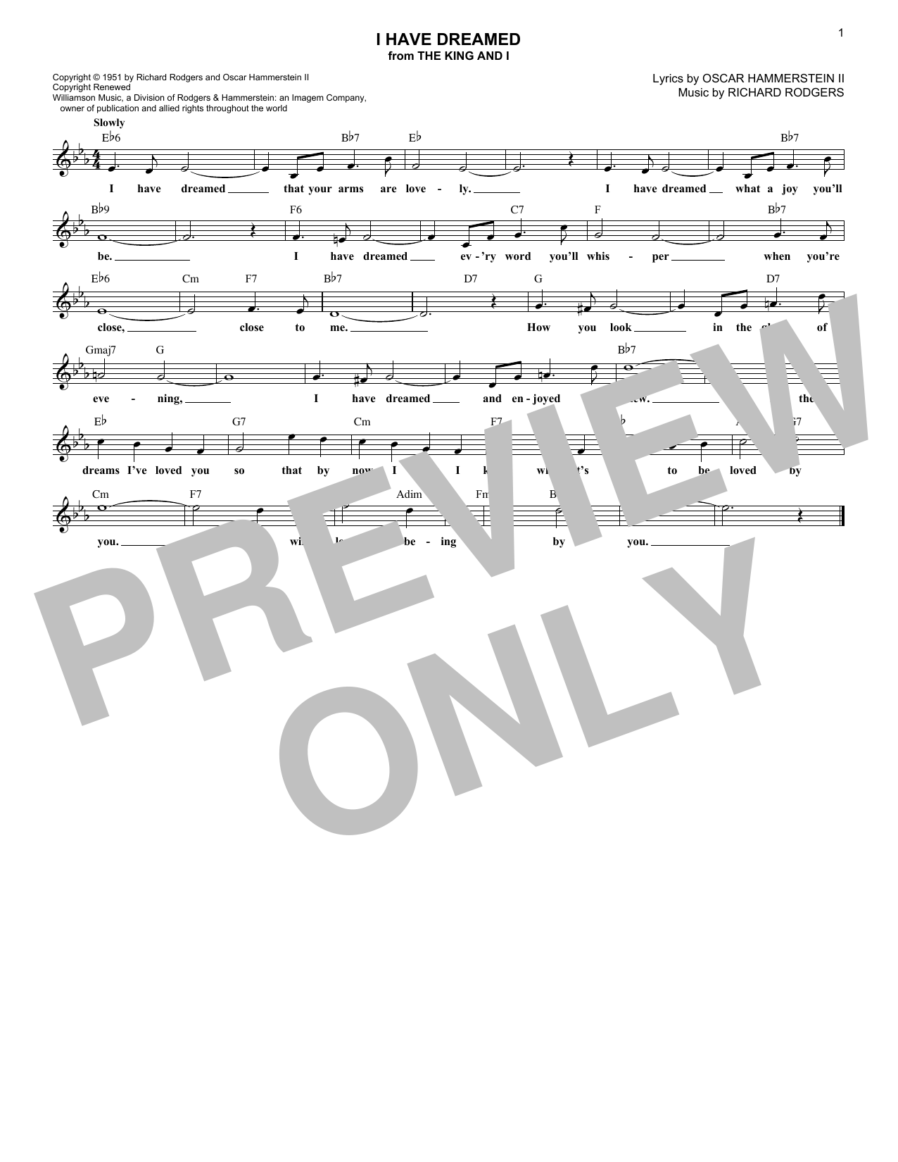 Rodgers & Hammerstein I Have Dreamed sheet music preview music notes and score for Piano (Big Notes) including 3 page(s)