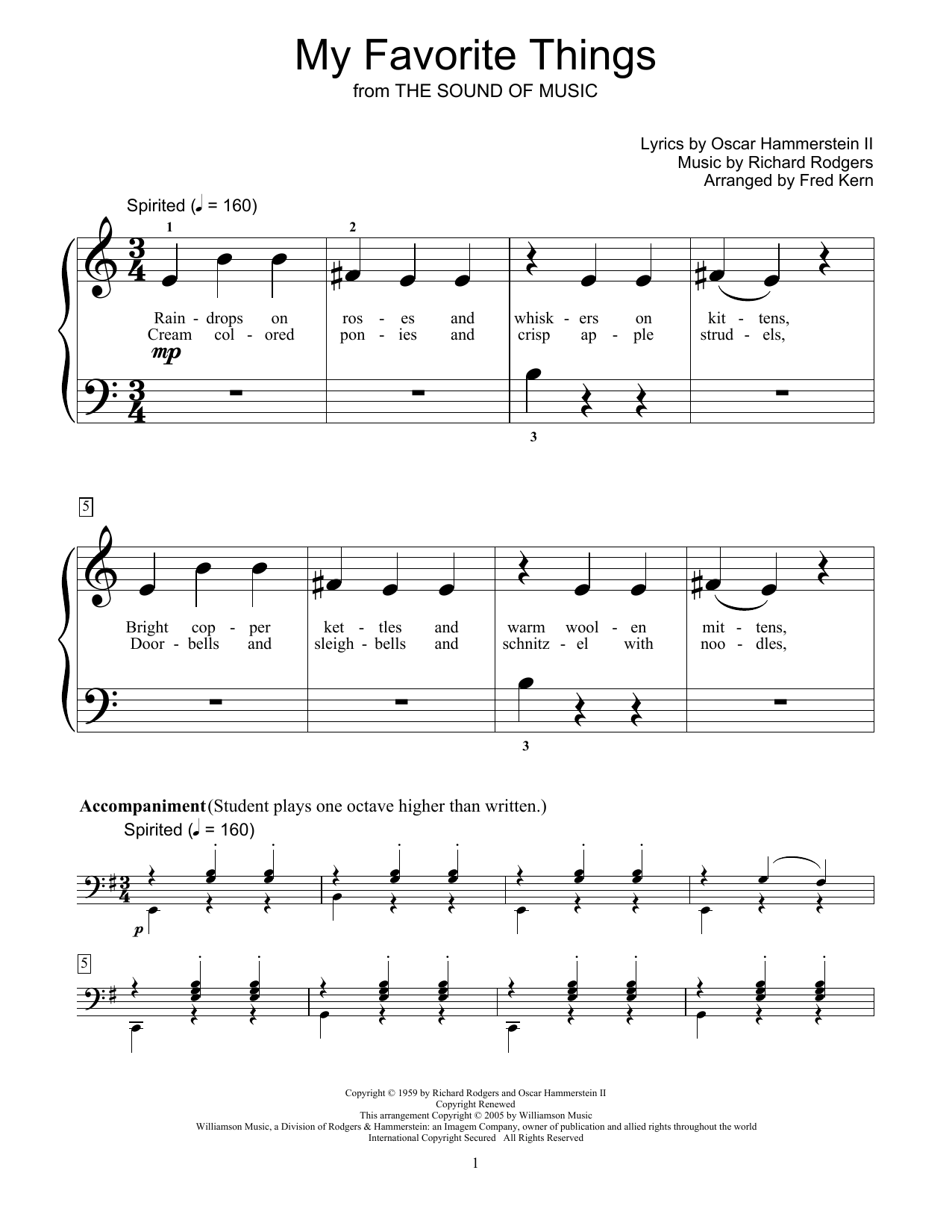 Download Rodgers & Hammerstein 'My Favorite Things' Digital Sheet Music Notes & Chords and start playing in minutes