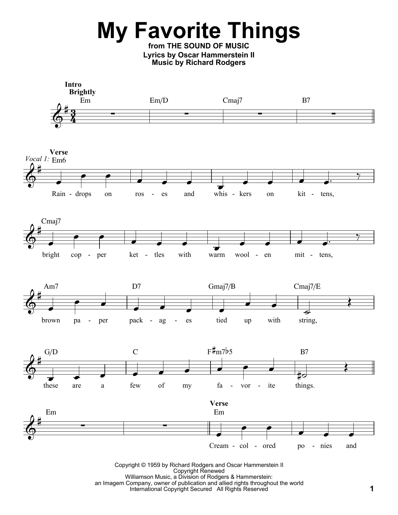 Rodgers & Hammerstein My Favorite Things sheet music notes and chords