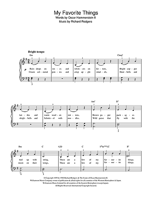 Download Rodgers & Hammerstein 'My Favorite Things (from The Sound Of Music)' Digital Sheet Music Notes & Chords and start playing in minutes