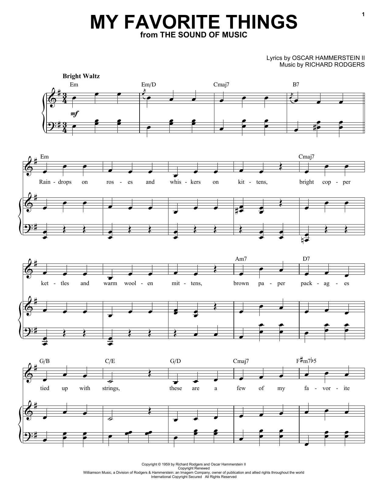 Rodgers & Hammerstein My Favorite Things (from The Sound Of Music) sheet music preview music notes and score for Piano Duet including 12 page(s)