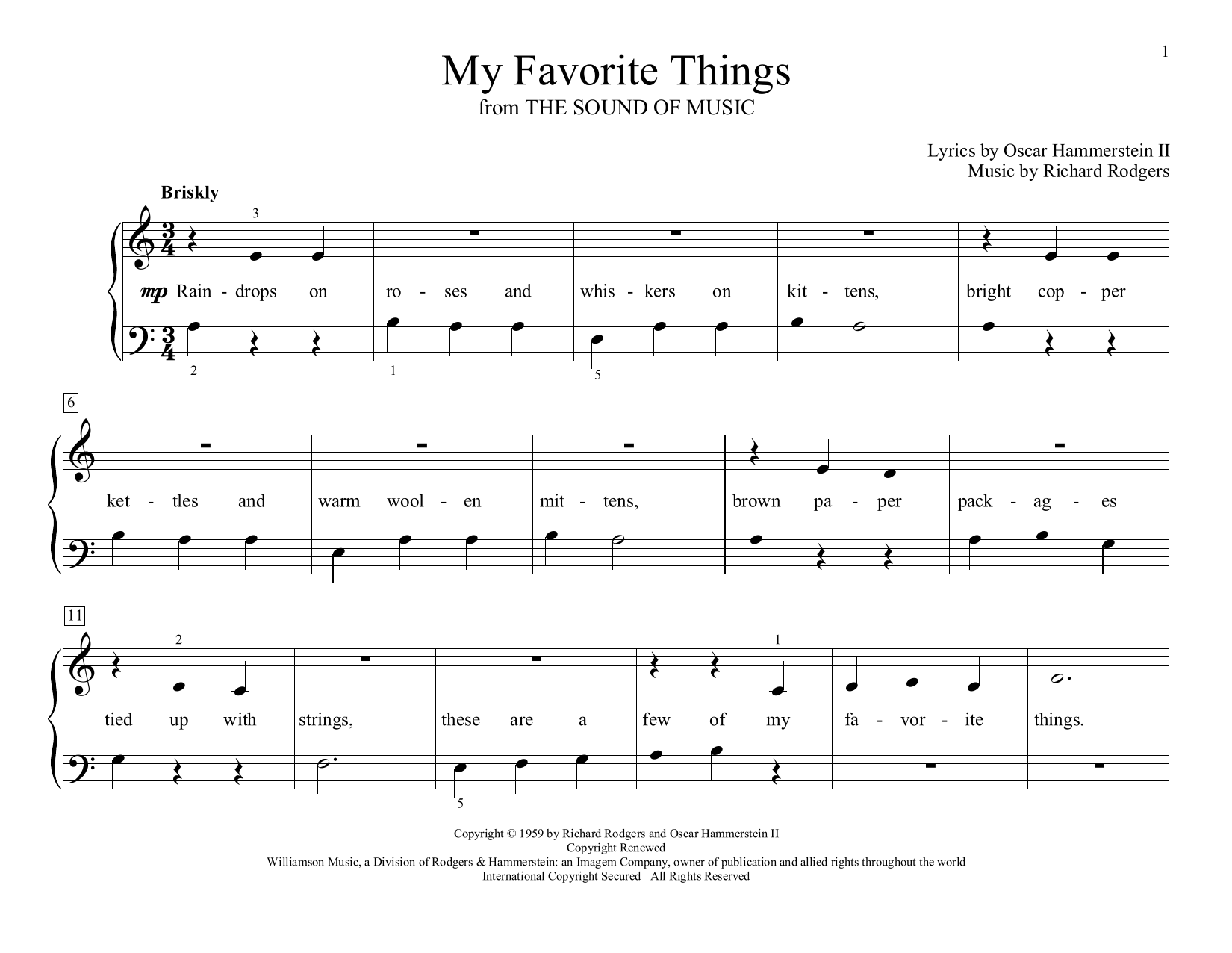 Rodgers & Hammerstein My Favorite Things (from The Sound of Music) (arr. Christopher Hussey) sheet music preview music notes and score for Educational Piano including 2 page(s)