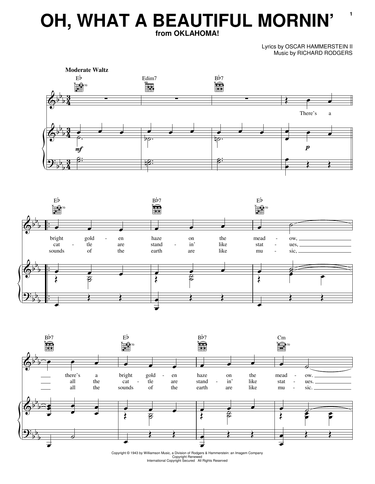 Rodgers & Hammerstein Oh, What A Beautiful Mornin' sheet music preview music notes and score for Piano, Vocal & Guitar (Right-Hand Melody) including 3 page(s)