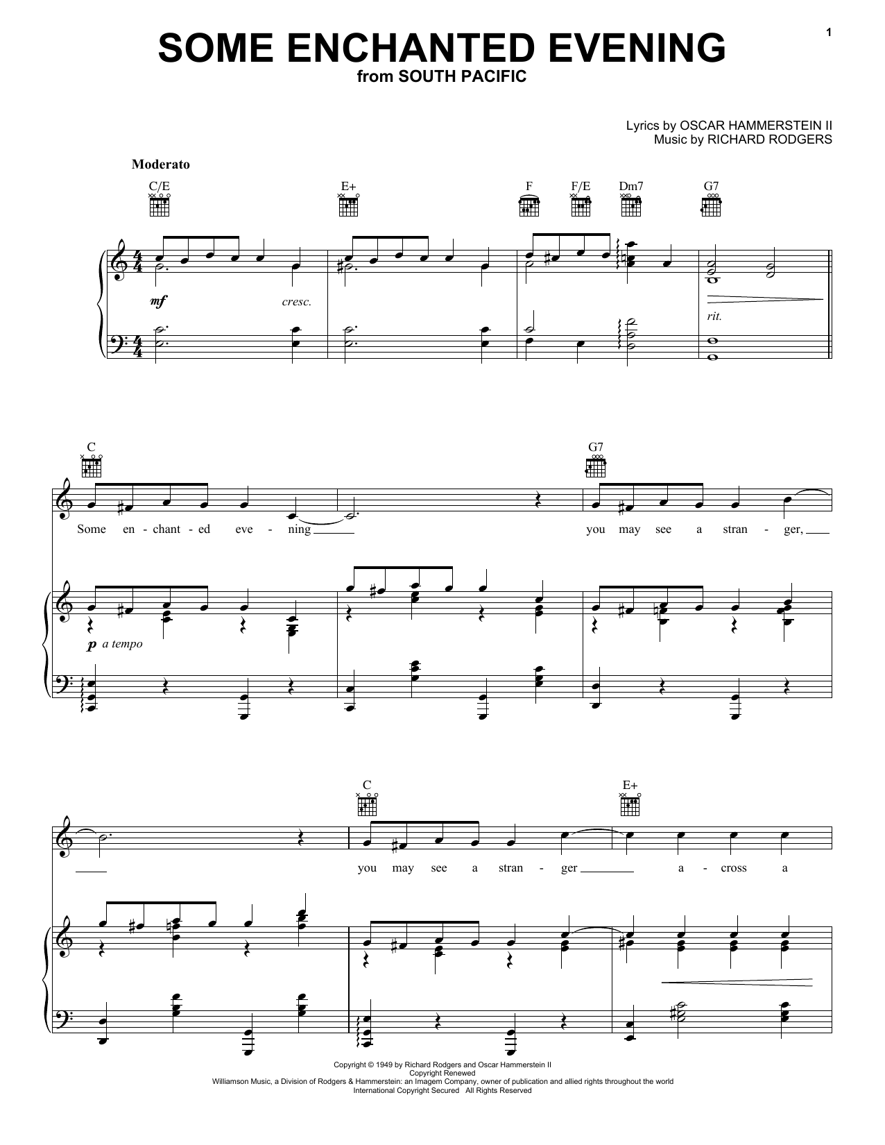 Rodgers & Hammerstein Some Enchanted Evening (from South Pacific) sheet music preview music notes and score for E-Z Play Today including 3 page(s)