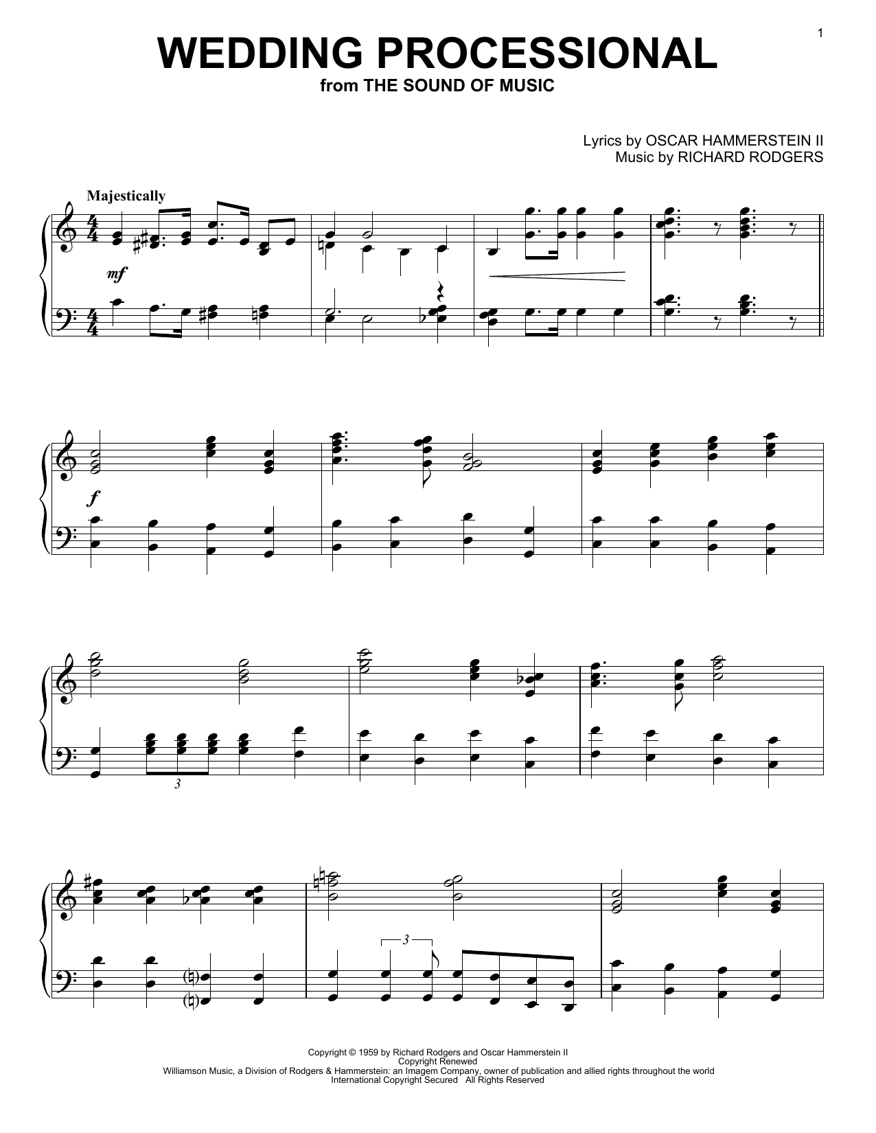 Rodgers & Hammerstein Wedding Processional sheet music notes and chords