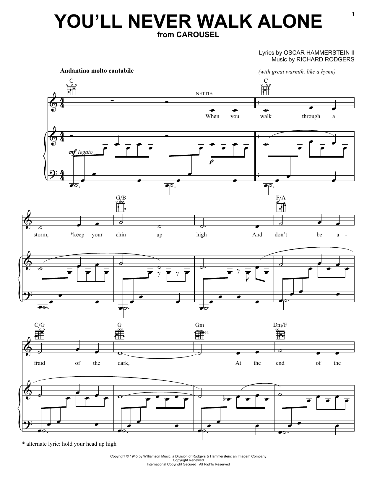 Rodgers & Hammerstein You'll Never Walk Alone sheet music preview music notes and score for Piano Duet including 6 page(s)