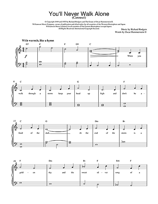 Rodgers & Hammerstein You'll Never Walk Alone (from Carousel) sheet music notes and chords
