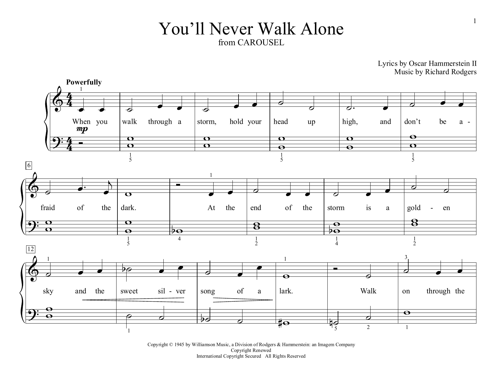 Rodgers & Hammerstein You'll Never Walk Alone (from Carousel) (arr. Christopher Hussey) sheet music preview music notes and score for Educational Piano including 2 page(s)
