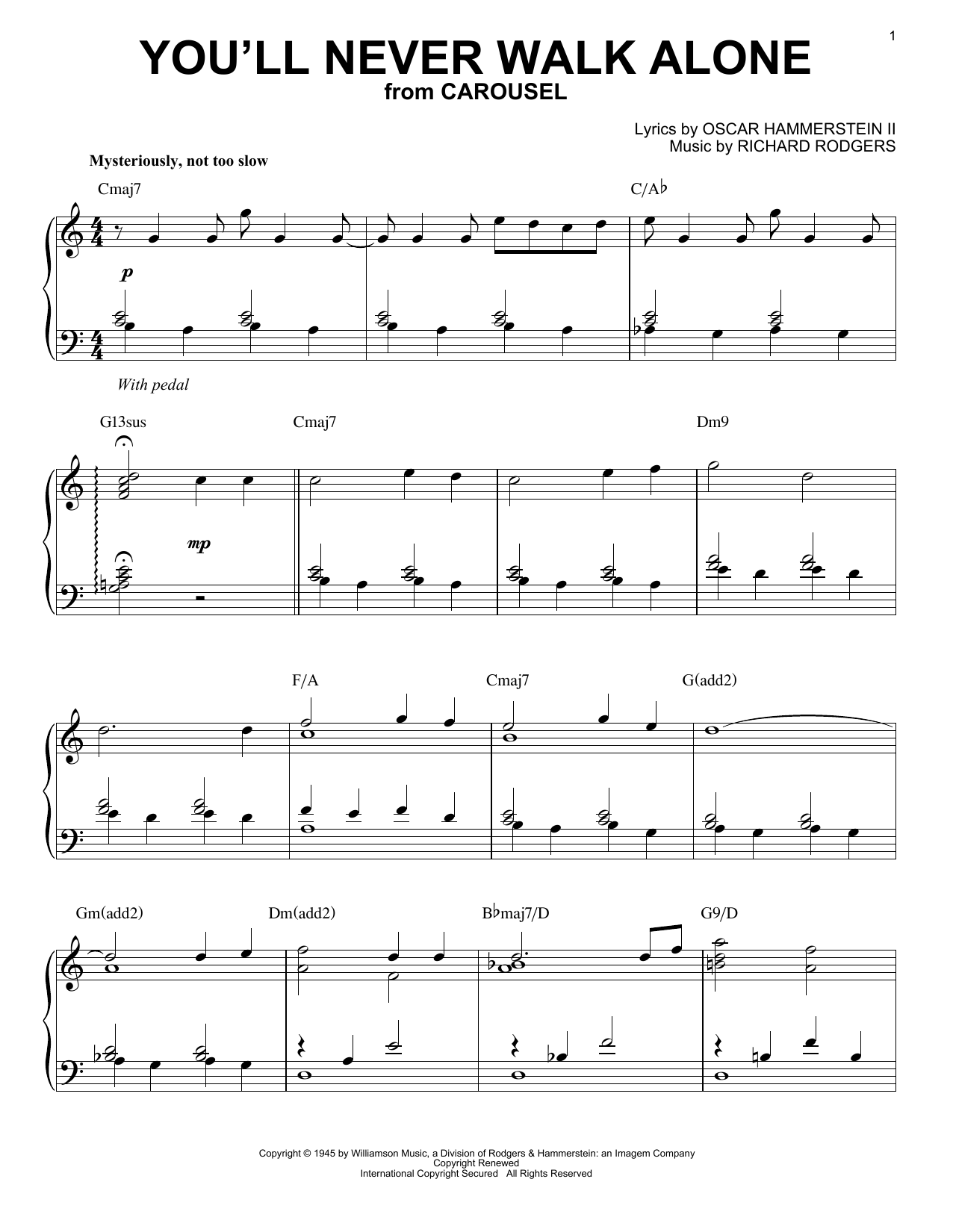 Download Rodgers & Hammerstein 'You'll Never Walk Alone' Digital Sheet Music Notes & Chords and start playing in minutes