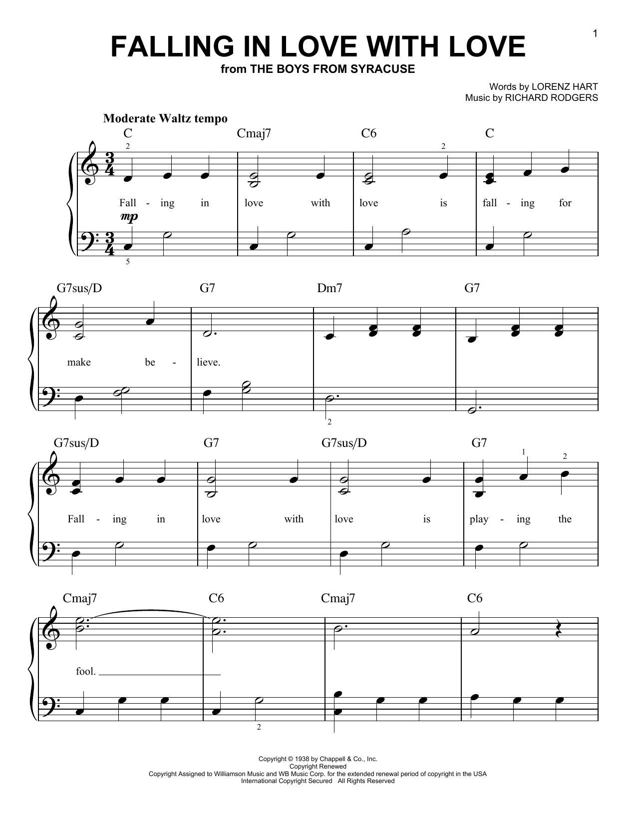 Rodgers & Hart Falling In Love With Love sheet music preview music notes and score for Easy Piano including 4 page(s)